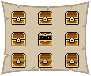 gamedesign screenshot mit 9 schatztruhen
