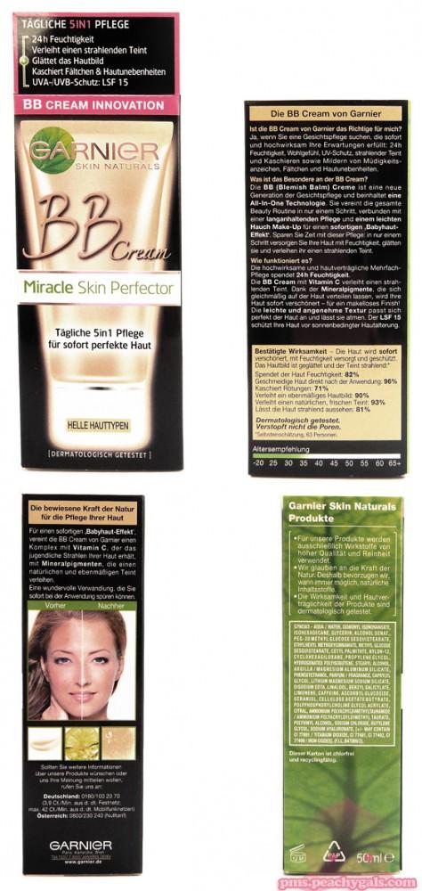 miracle skin perfector von garnier produkt in 4 ansichten