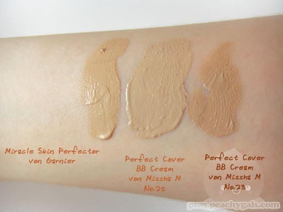 vergleich zwischen miracle skin perfector von garnier und perfect cover bb cream von missha m - no.21 + no.23