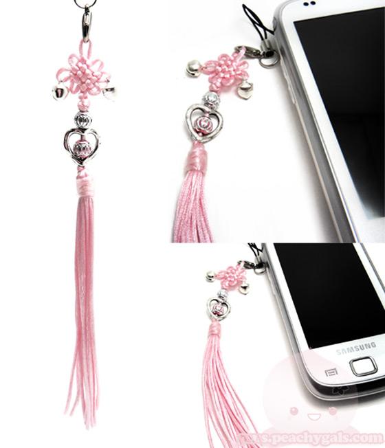 handyanhänger, pink mit glöckchen