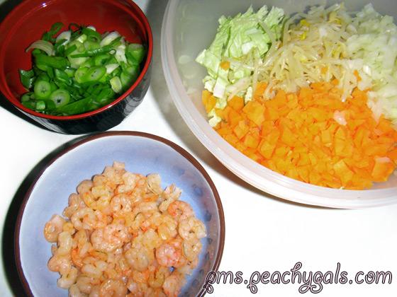 yakisoba zutaten - shrimps, frühlingszwiebeln, karotten, zwiebeln, chinakohl, bohnensprossen