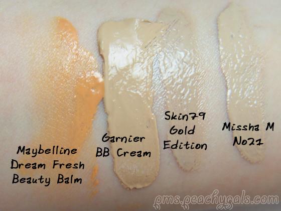 4 bb creams auf der haut leicht verrieben