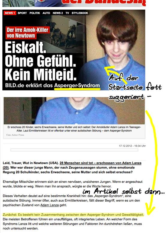 screenshot eines bildartikels zum thema autismus